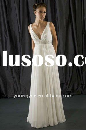 Superior quality chiffon Grecian style swarovski wedding dress with beaded sash(WD10080)