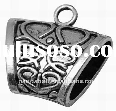 Tibetan Style Pendants, Lead Free, Tube, Antique Silver Color, 37x40x15mm, hole: 6mm(TIBEP-12800-S-L