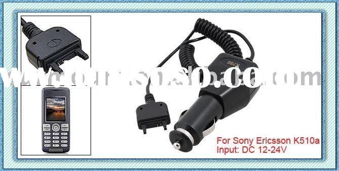 Traveling Coiled Cord Black Car Charger Power Adaptor for Sony Ericsson K510a