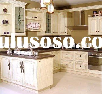 U Shape Classic Cream Glazed Color Solid Wood Kitchen Cabinet