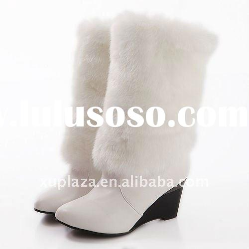 Vogue White Leather Fur Women 8CM Wedeges Boots US4.5-8.5