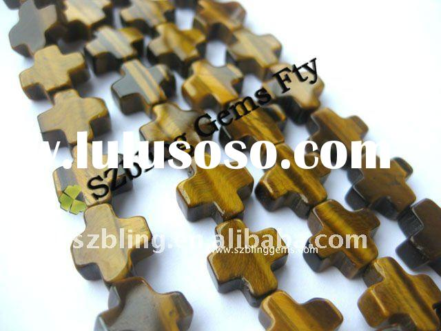 Wholesale good quality natural gemstones tiger eye cross loose beads for make necklace