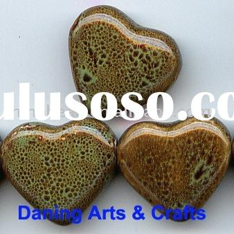 Wholesale porcelain beads green heart shape ceramic beads jewelry beads necklace bracelet bead