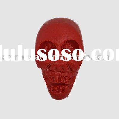 Wholesale skull shape red carved lacquer bead acrylic bead cinnabar bead