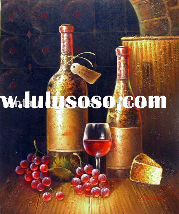 Wine Bottles Glass Grapes Cellar Oil Painting