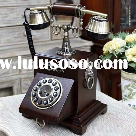 antique wooden telephone with keypad drawer