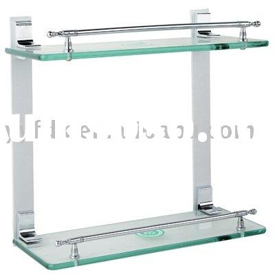 bathroom double corner glass shelf