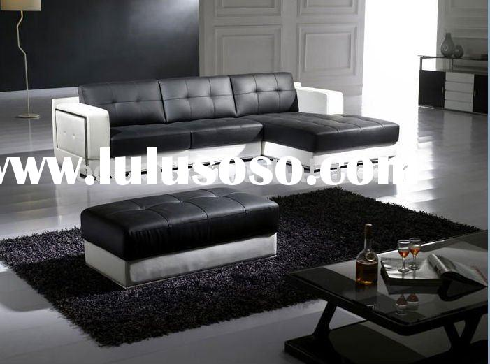 black and white leather sofa OCS-013
