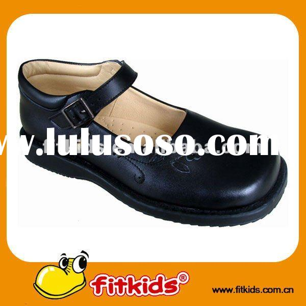 black,buckle design,high quality girl school shoes