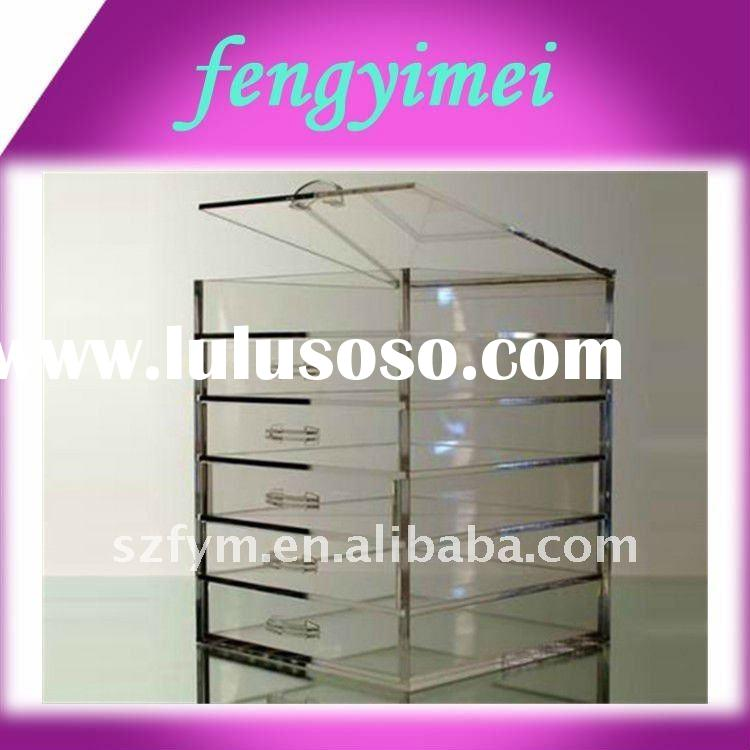 clear acrylic tiers drawers display case/transparent plexiglass display case with drawers/acrylic di