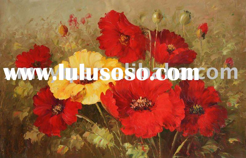 colorful flower oil painting (hand-painted,in stock painting)