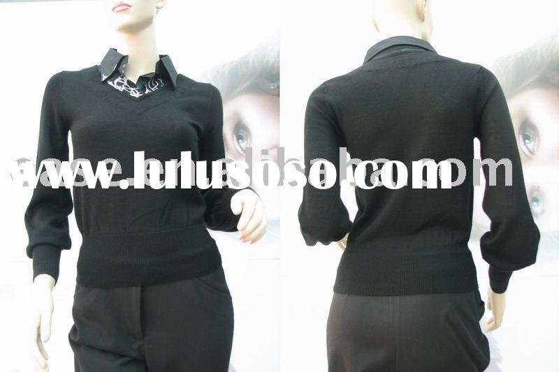 fashion collar pullover cotton lady blouse