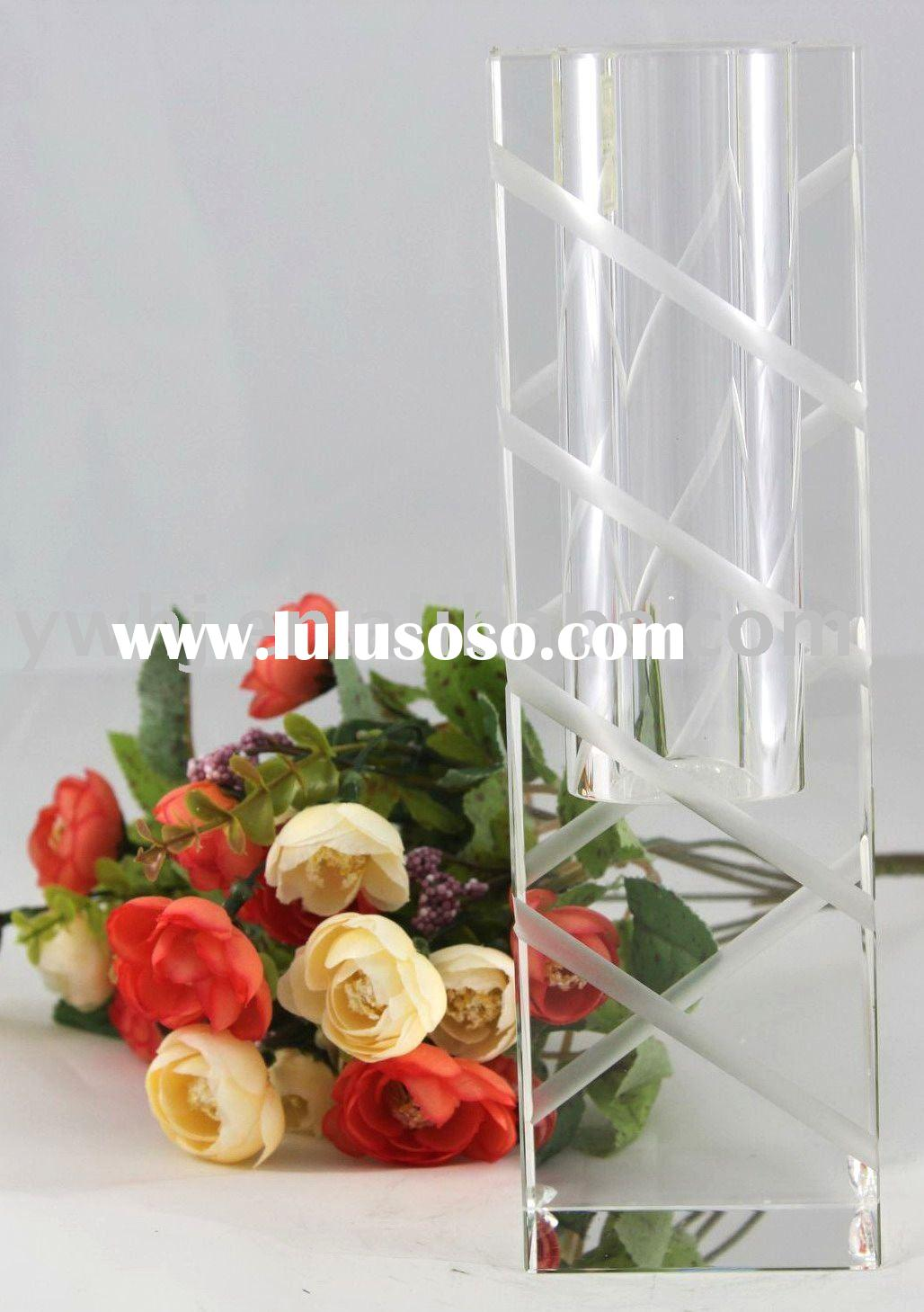 fashion hot sale tall clear glass vases