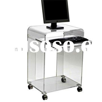 fashionable acrylic computer table with wheels, computer table desk