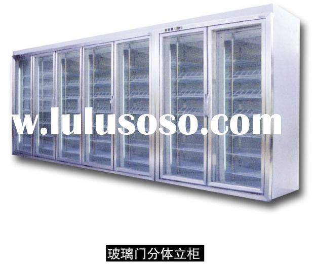 glass door freezer storage for frozen food with shelves/ cold storage room for fresh food/cooling st