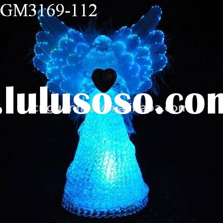 glass fiber optical angel wings with LED changing light