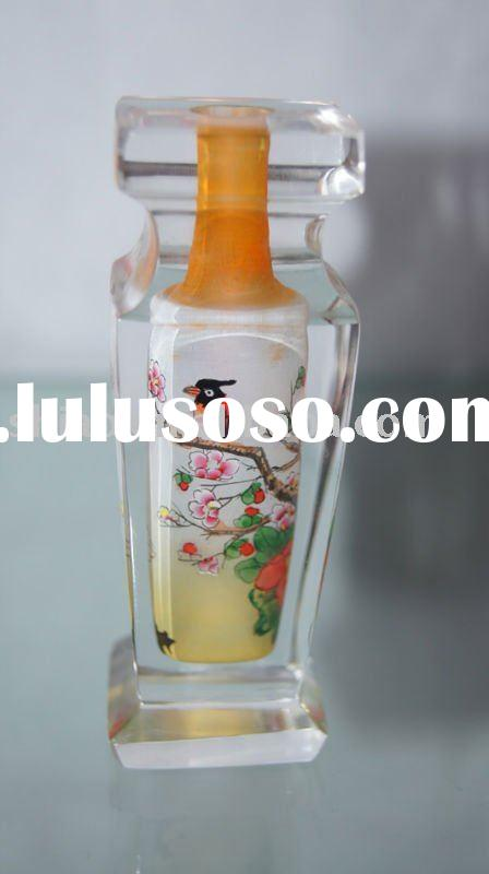 glass vase for flower square shape inside painted bird picture as art craft for decorative glass vas