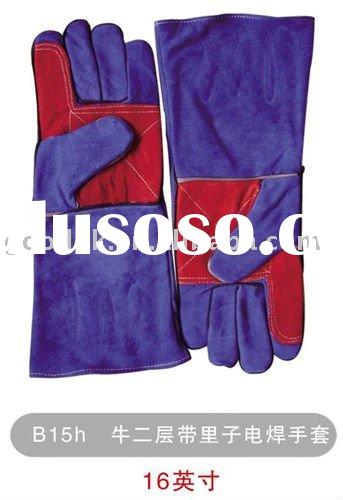 high quality purple cow split leather working gloves