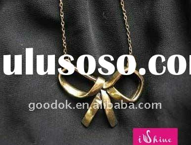 hot sale jewelry alloy pendant bow necklace