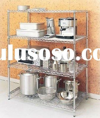 kitchen stand, kitchen wire shelf, kitchen rack(silver white) DIY-060