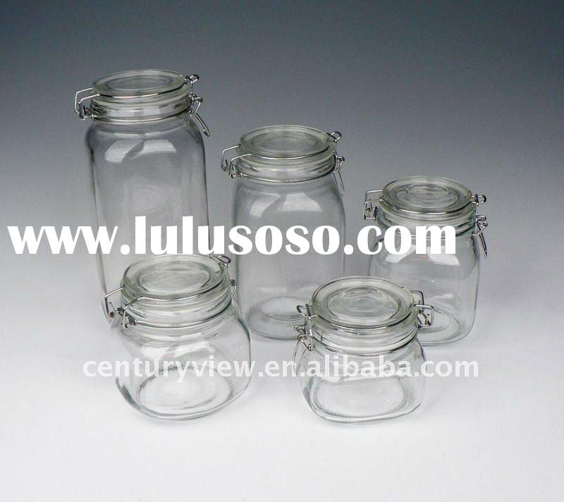 kitchen storage 5sets square clip lid airtight glass jar with metal clip
