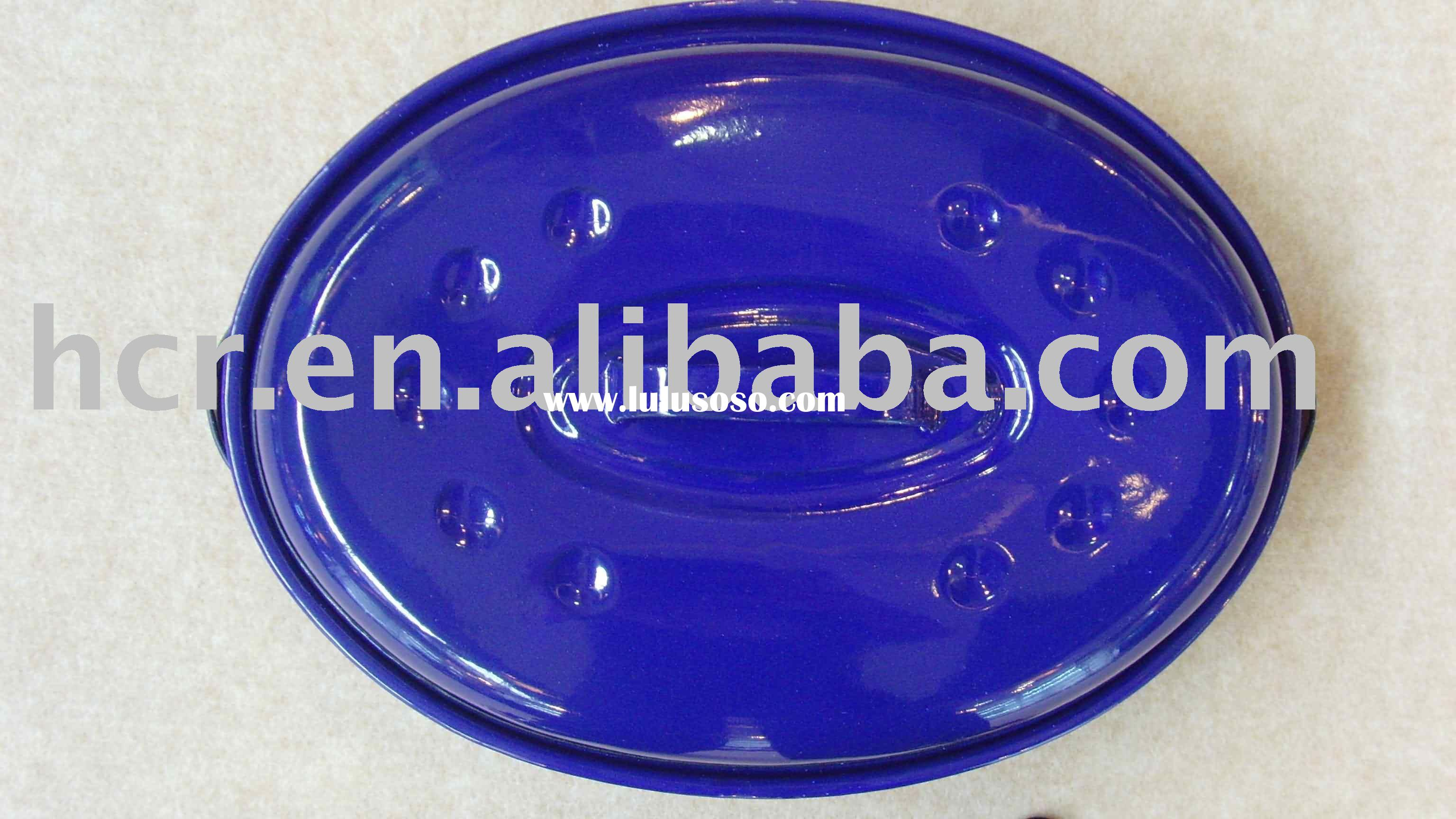 light blue oval enamel roaster