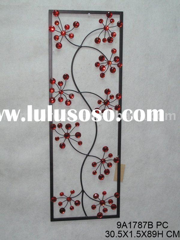metal rectangle wall art with red acrylics