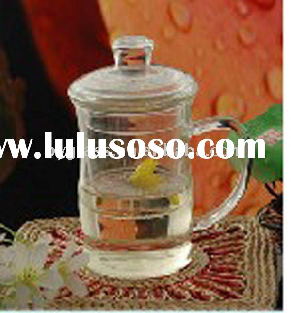 mouth blown crystal drinking glass cup with lid and handle