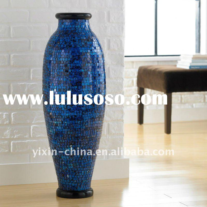 new beautiful blue tall big mosaic glass vase