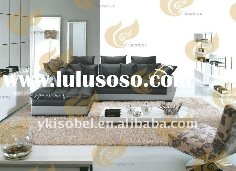 new design black leather corner sofa set YK2889