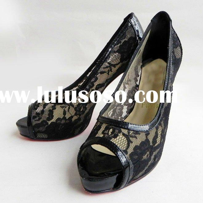 new style 2012 women black lace high heel shoes