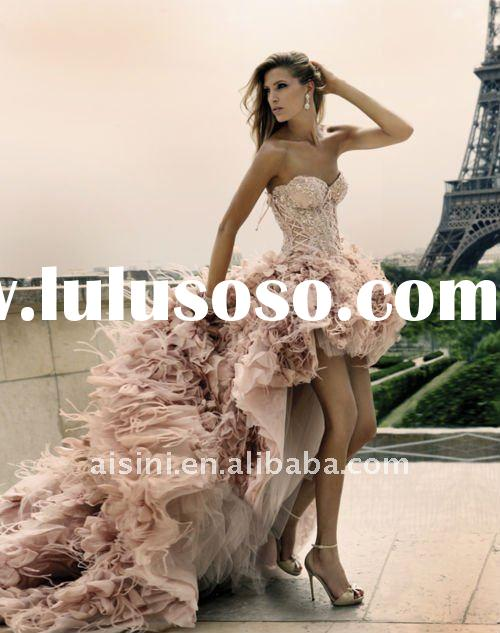 pink feather front short and long back Wedding Dress