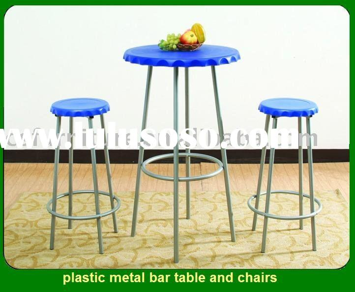 plastic metal bar table and chairs