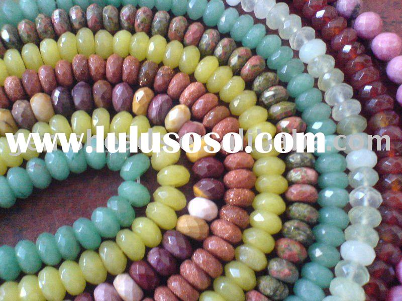 semi precious stone gemstone faceted roundel beads