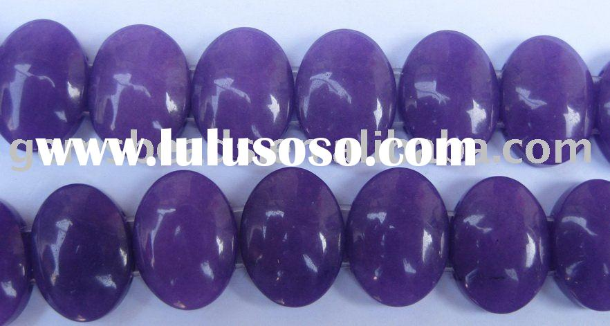 semi precious stone purple jade oval beads