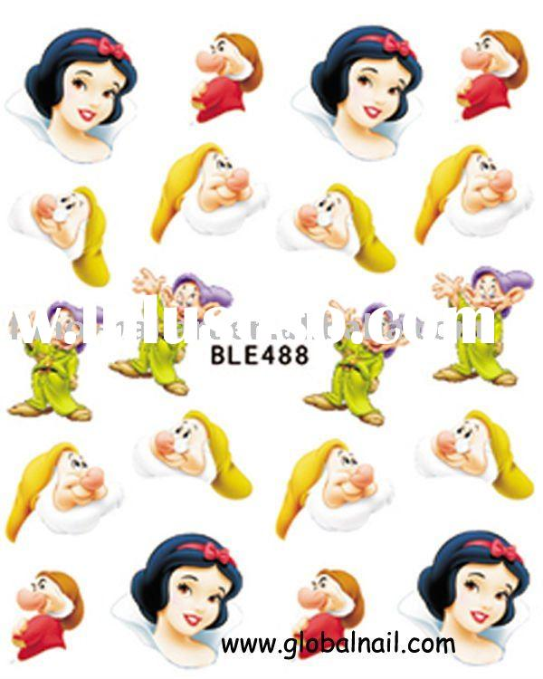 snow white cartoon design nail sticker,nail art sticker, nail decoration