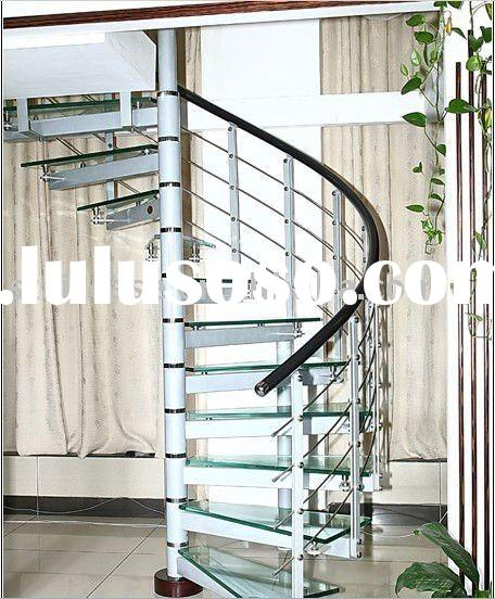 spiral steel glass stair