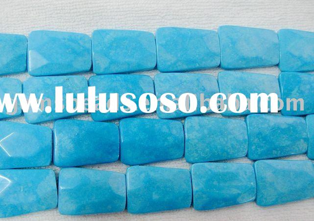 wholesale gemstone necklace jewelry faceted trapezoid blue turquoise beads