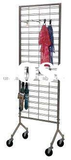 wire grid rolling retail clothing rack