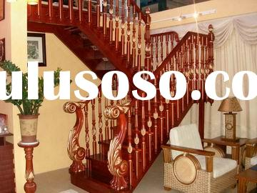 wood stairs( wood handrail with balustrade)