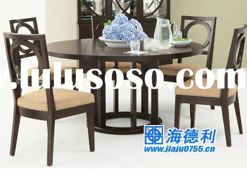 wooden dining round table