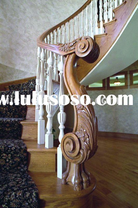 wooden stairs balustrade made by carved