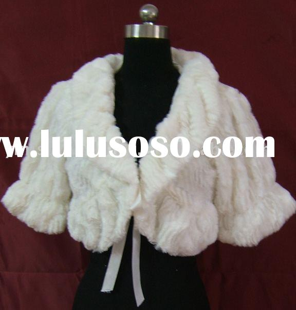 yinishi ivory faux fur bridal stole/ shawl/ wrap/ cape /coat AL08