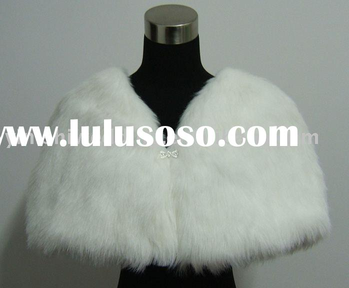 yinishi white faux fur bridal stole/ shawl/ wrap/ cape /coat FS044