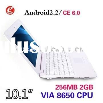 10 inch Netbook VIA 8650 800Mhz notebook Wifi Windows ce 6.0/ Android 2.2 mini laptop