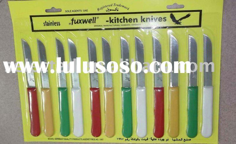 12 pcs Fruit Carving Knife in Color Plastic Handle