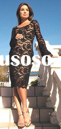 2010 new styles black lace embroidery Maternity evening dresses Pregnant dress,prom dresses, mp022