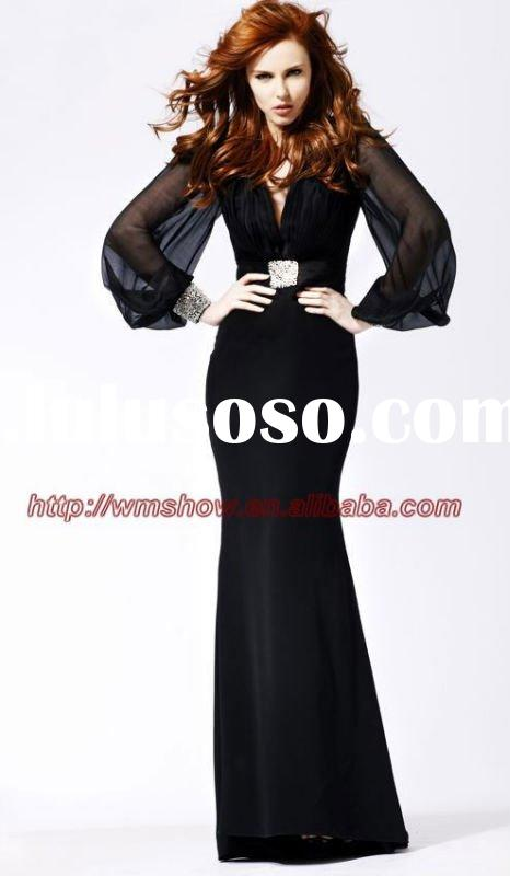 2011 Black Satin Long Sleeve Evening Dress