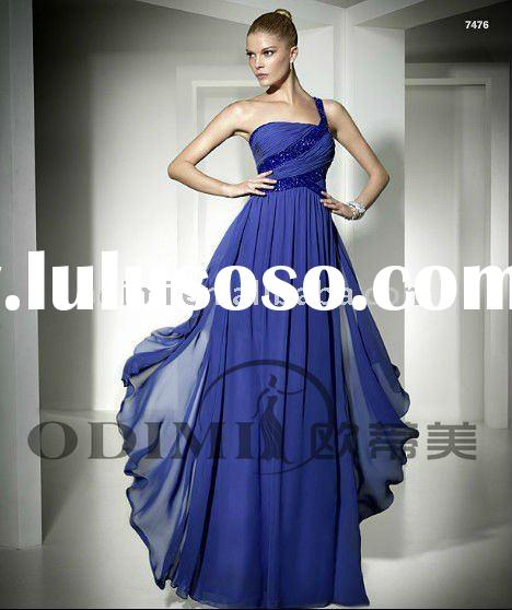 2011 Flowing Blue Chiffon Long Evening Dress