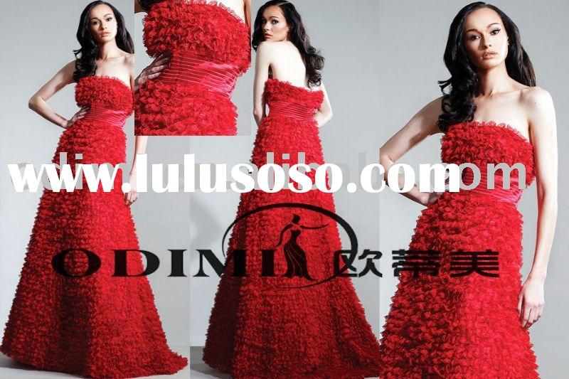2011 Most Charming Backless Red Lace Evening Gown